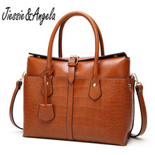 Jiessie&Angela fashion crocodile pattern handbag single shoulder bag large capacity women leather tote bags vintage