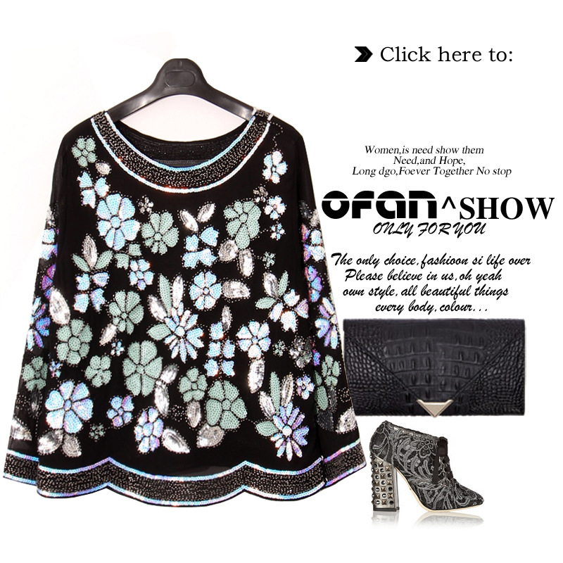 [To Gladself] Women 2017 Autumn Winter Fashion Casual Sequin Floral Blingbling 3/4 Sleeve Top Pullover Hoodies Sweatshirt