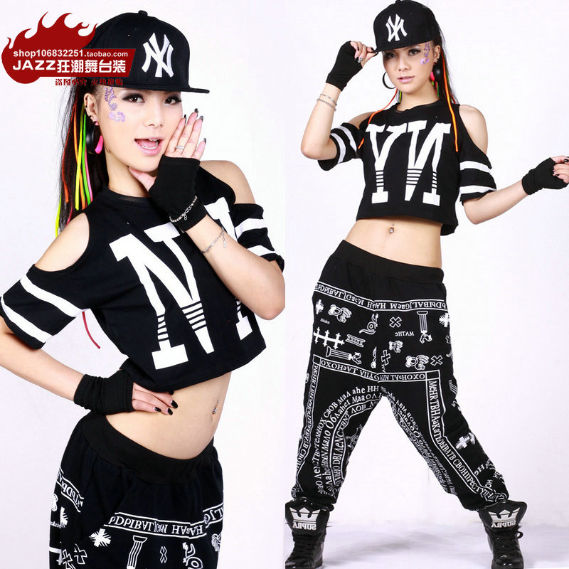 Buy new fashion hip hop loose top dance for Hip hop outfit damen