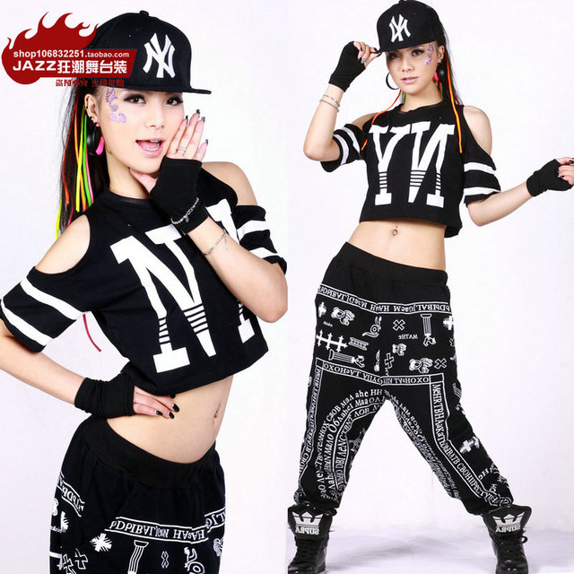 280197493 New Fashion hip hop loose top dance female Jazz costume performance wear  letter strapless Sexy Hollow