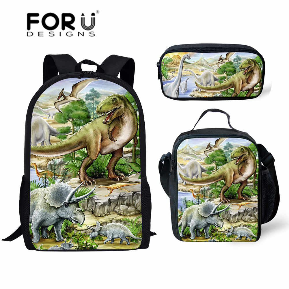 acdbb4e1367c Dinosaur School Bag set kids bag cartoon animal print Backpack for ...
