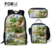 FORUDESIGNS 3pcs School Bags Set for Kids Dino School Bag Ch
