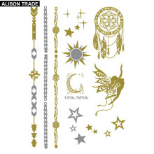 Flash Tattoo Angel Bracelets Of Gold And Silver Pentacle Of The Moon Fresh Small Logo Waterproof Tatoo Temporary Stickers VT314