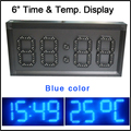 "6"" blue color,led display for temperature,time,led clock,led module,7 segment of the modules, semi-outdoor LED SIGNS"