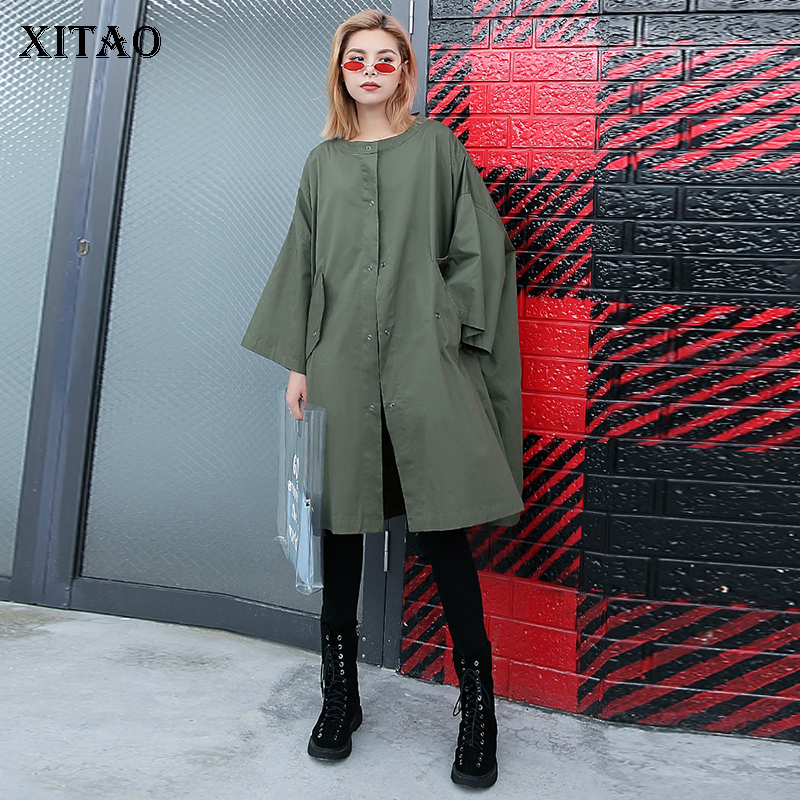 [XITAO] 2018 New Autumn Europe Casual Women Solid Color O-Neck Long Coat Female Full Sleeve Single Breasted   Trench   GWY2942