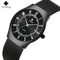 WWOOR Luxury Sports Watch Men Brand Men S Watches Ultra Thin Stainless Steel Mesh Quartz Fashion
