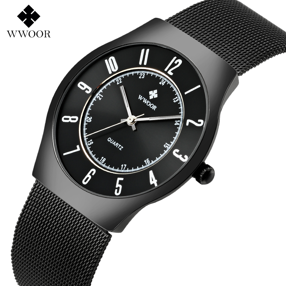 WWOOR Luxury Sports Watch Men Brand Men's Watches Ultra Thin Stainless Steel Mesh Quartz Fashion Brand Clock relogio masculino fashion watch top brand oktime luxury watches men stainless steel strap quartz watch ultra thin dial clock man relogio masculino