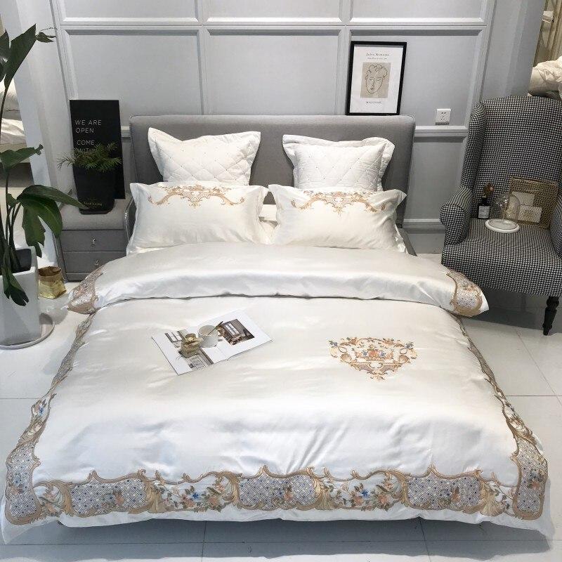 White Gray Satin Cotton Duvet Cover Set Luxury Bedding Set 4/7Pcs Queen King size Premium Embroidery Bedding Set Smooth Silky