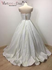 Image 2 - VARBOO_ELSA 2018 Sevgiliye Kolsuz Gece Elbisesi Beyaz Payetli Parlak Balo Elbise Lüks Balo Custom vestido de festa
