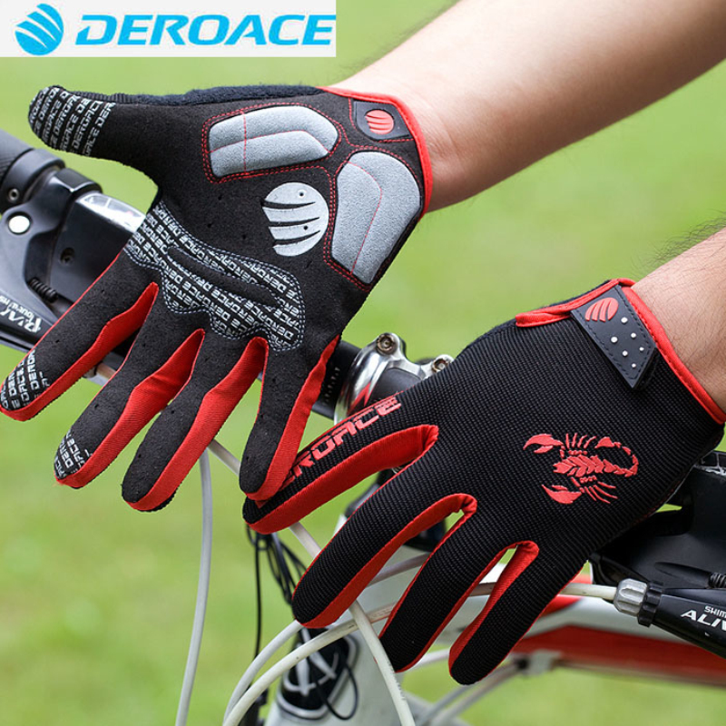 DEROACE Cycling Glove Gel Touch Screen Mountain Bike Full Finger Bicycle Gloves for Man MTB windproof Off Road Motocross Gloves