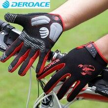 Фотография DEROACE Cycling Riding Men Anti-shock Thermal guantes MTB Road Bike Bicycle Winter Full Finger Windproof Teach Screen Gloves