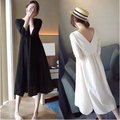 Spring autumn V-Neck Cotton Solid Maternity Dress Nursing Clothes for Pregnant Women Breastfeeding Clothing Feeding basic skirt