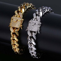 Golden Electroplated Jewellery Buckle Miami CUBAN CHAIN 8 Inches Man Hip Hop Personalized Hand Iced Out Bracelet Curb