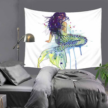 Mermaid Tapestry Half Naked Lady With Merrmaid Fish Tail Lying On the Rock Against The Full Moon Background Wall Blankets