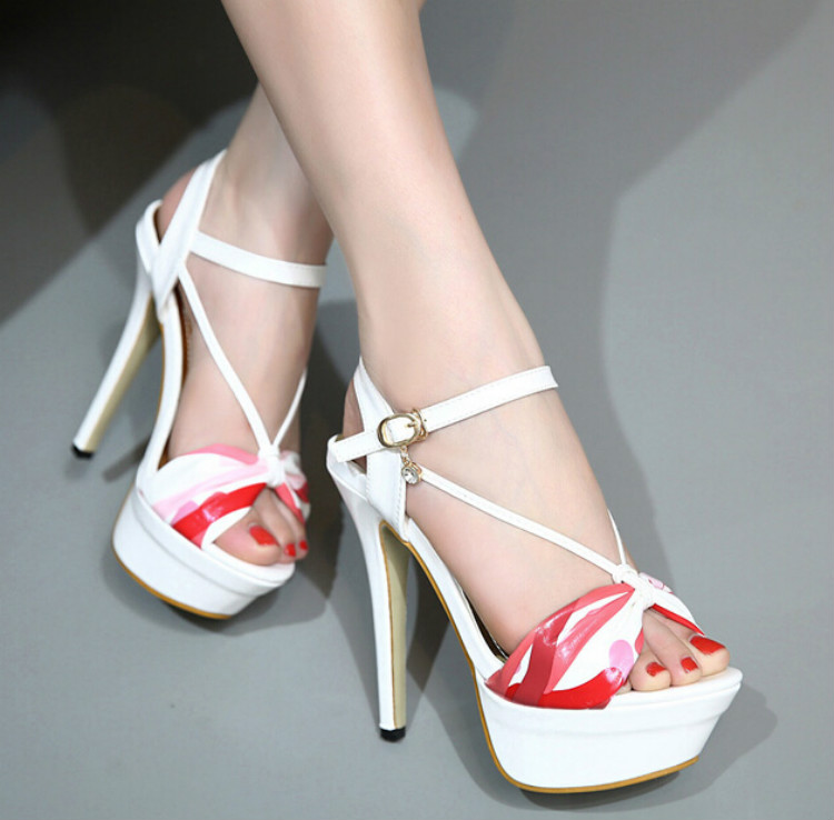 Fish head high with sandals Sexy nightclub waterproof diamond fine with female sandals party shoes women