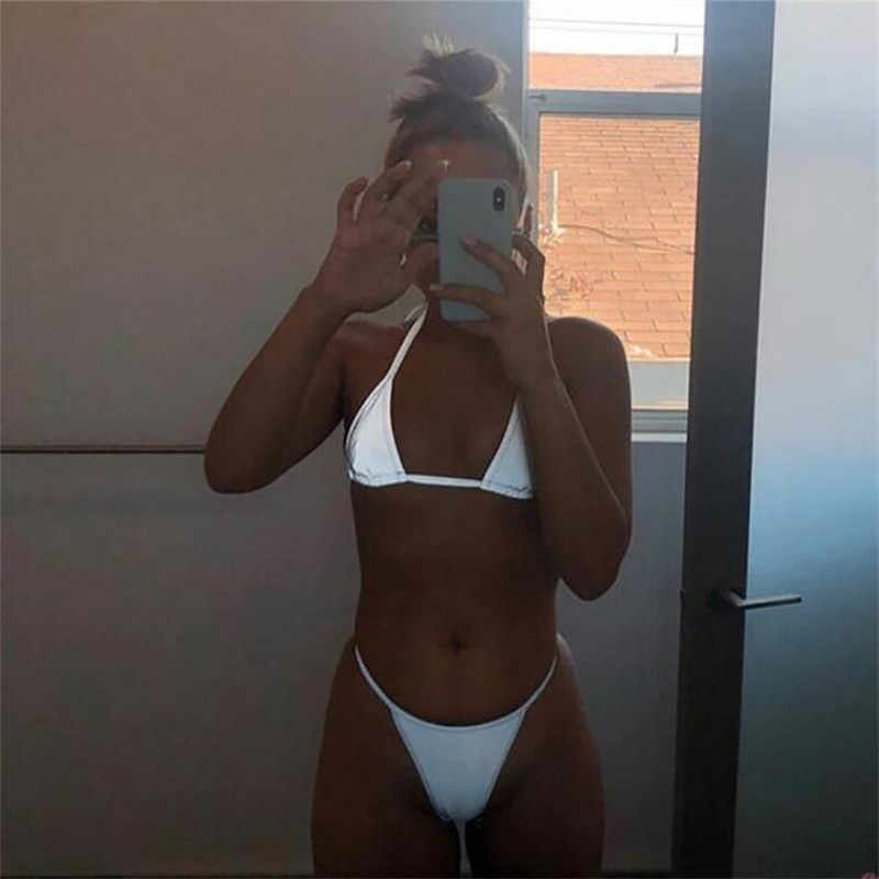Women Reflective Swimming Suit for Bath Beach Sexy Sling Strapless Solid Color Crop Top + Elastic Waist Briefs Two Piece Set