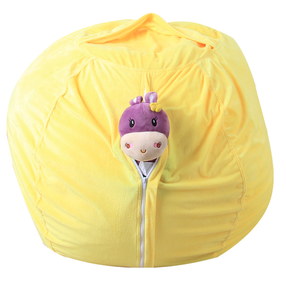 Kids Stuffed Animal Super Soft Short Plush Toy Large Capacity Storage Bean Bag Soft Pouch Stripe Fabric Chair Droship 23May 28 1