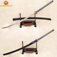 Full Tang Japanese Samurai Naginata Sword 1095 High Carbon Steel Clay Tempered Blade Sharp Brass Dragon Tsuba Can Cut Trees 45″