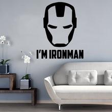 Funny Iron Man Home Decoration Accessories Bedroom Nursery Nordic Style adesivo de parede
