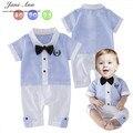Детская одежда мальчика хлопок наряд господа летний синий полосатый с коротким рукавом галстук-бабочка ползунки комбинезон для новорожденных день рождения костюм