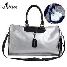 Women Fitness Gym Bag Shoes Patent Leather Training Handbag Yoga Luggage Shoulder Bags Sliver Pack Sac De Sporttas Balso XA131D