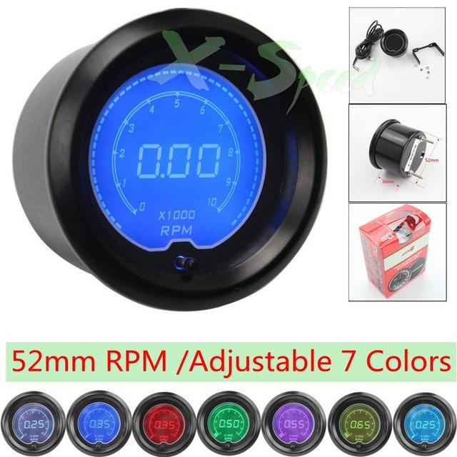 7 Color 52MM Universal  Digital Tachometer Gauge EVO RPM Meter Auto Gauge Rpm Gauge LCD Blue / Red /Green /Light YC100115