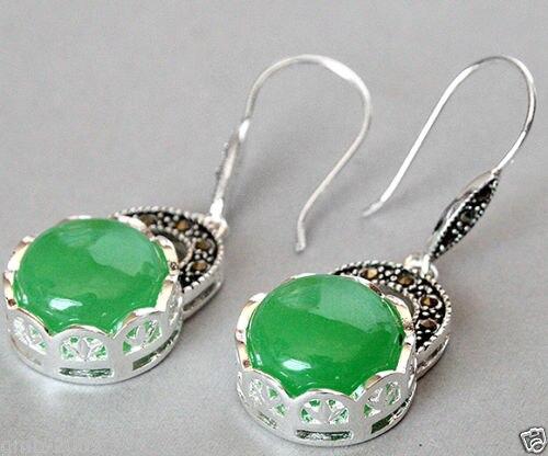 women jewelry Brincos earring Pendientes Natural Green Jade VINTAGE 925 SILVER NATURAL GREEN JADE MARCASITE EARRINGS