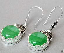 women jewelry Brincos earring Pendientes Natural Green Jade VINTAGE 925 SILVER NATURAL GREEN JADE MARCASITE EARRINGS