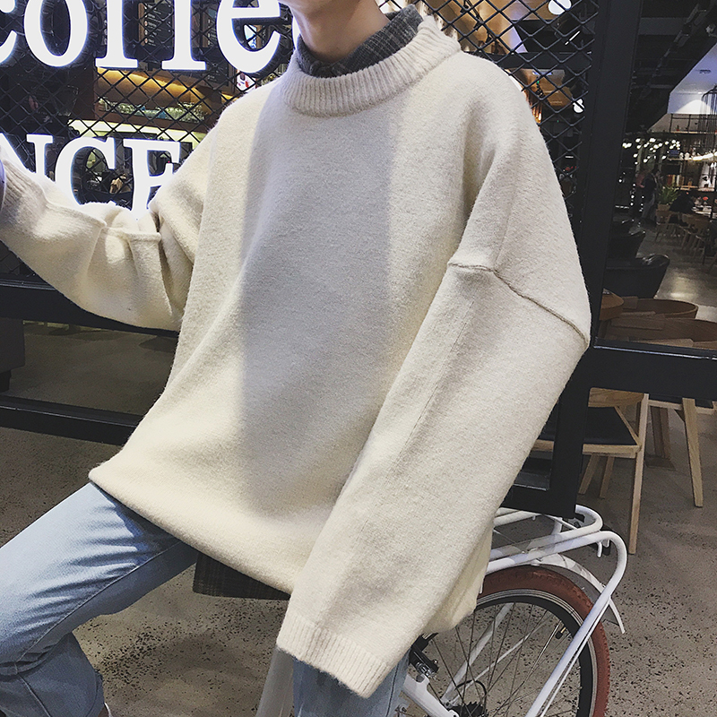 New Men Sleeve Knit Woolen Pullover Slim Fit In Warm Coat Casual High Quality White/black Sweaters M-2XL Free shipping