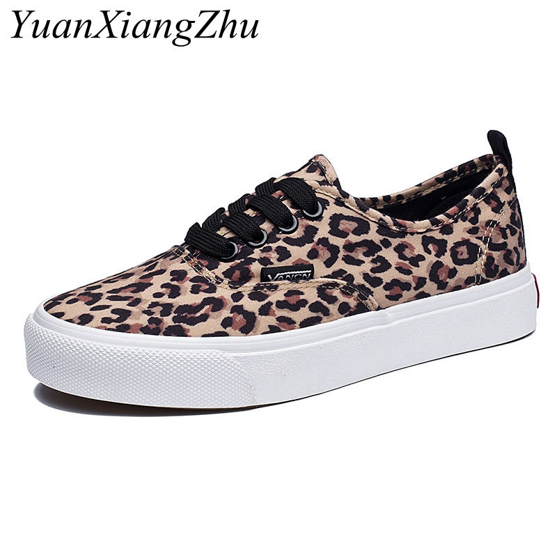 Fashion Leopard Women Shoes 2018 Autumn New Lace-Up Casual Canvas Shoes Woman Sneakers Comfortable Women Flats zapatos de mujer(China)