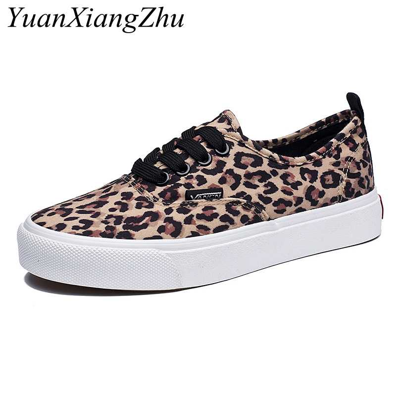 ac452008eb01 Fashion Leopard Women Shoes 2018 Autumn New Lace-Up Casual Canvas Shoes  Woman Sneakers Comfortable