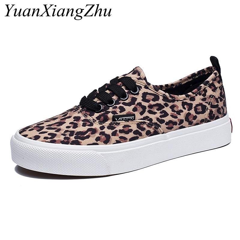 Mode Leopard Frauen Schuhe 2018 Herbst Neue Spitze-Up Casual Leinwand Schuhe Frau Turnschuhe Komfortable Frauen Wohnungen zapatos de mujer