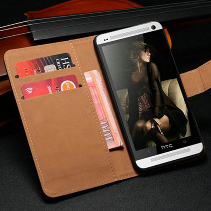 new product 7c715 02cdb US $2.74 |Genuine Leather Wallet Case For HTC One M7 Phone Flip Style with  Stand Cover For HTC M7 Coque-in Wallet Cases from Cellphones & ...