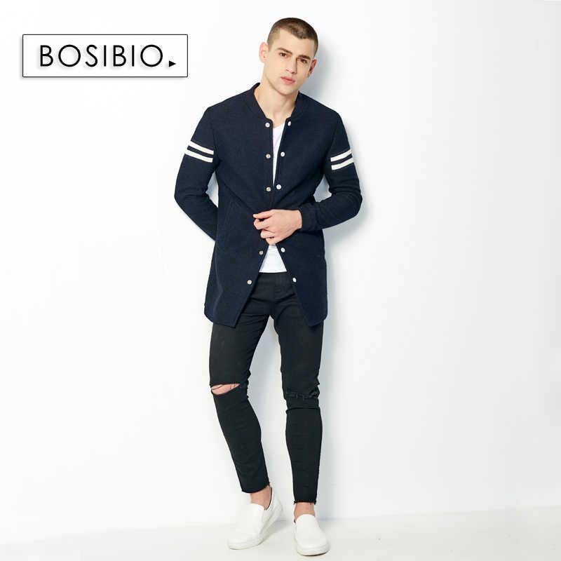 2017 осенне-весенний длинный Тренч, модное мужское тонкое темно-синее пальто, Высококачественная Мужская тонкая однобортная куртка, пальто 9003