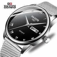 HAIQIN montre hommes or acier Quartz militaire Sport hommes montres Top marque de luxe étanche pleine horloge en acier Relogio Masculino
