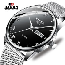 HAIQIN Watch Men Gold Steel Quartz Military Sport Mens Watches Top Brand Luxury Waterproof Full Steel Clock Relogio Masculino