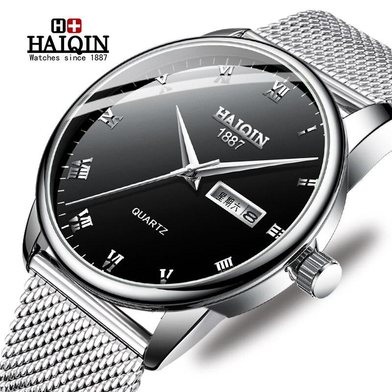 Reloj HAIQIN para hombre reloj deportivo militar de cuarzo de acero dorado para hombre, relojes de lujo, impermeable, reloj de acero completo, reloj Masculino