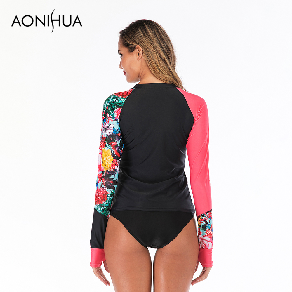 Aonihua 2019 Summer New Arrivals Two Piece Swimsuit Front Zipper Separate Swimsuit Bathting Suit Swimming Suit For Women in Body Suits from Sports Entertainment