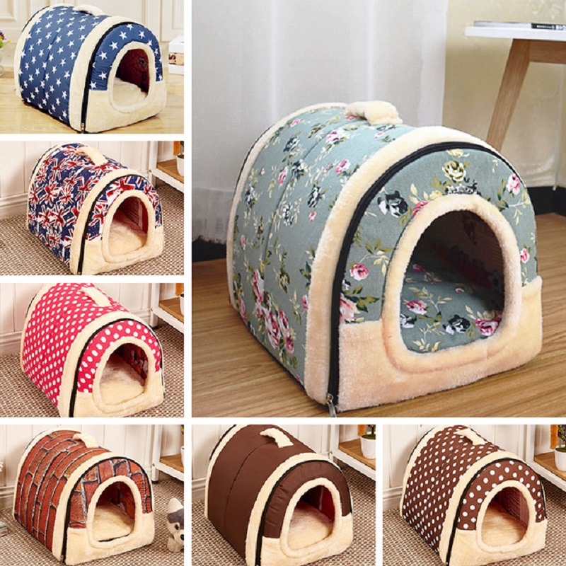 Dog House Beds For Medium Dogs Dot Retro Warm All Seasond Foldable Thick Cotton Detachable Pet Kennel Cat Soft House Dog Cage