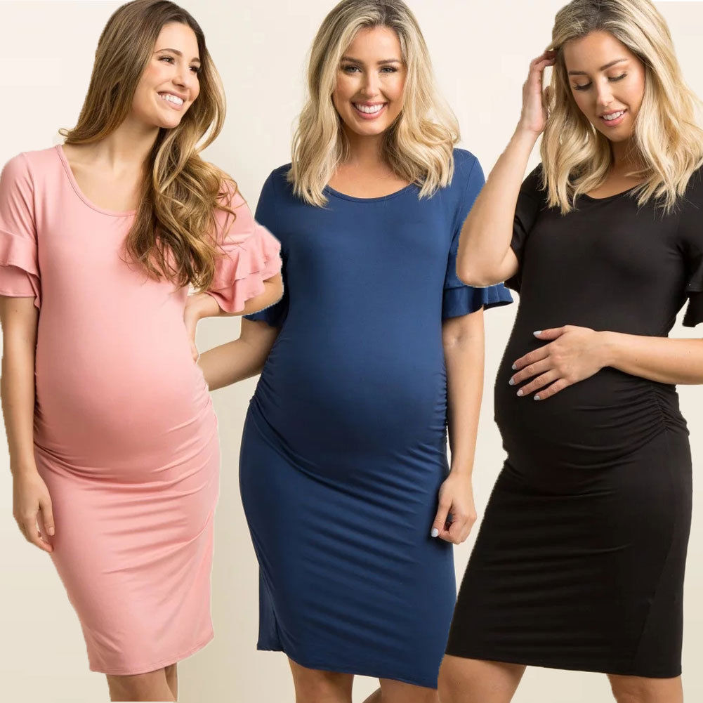 2018 New Pregnant Women Knee-Length Dresses Short Sleeve Cotton Maternity Gown Photography Photo Shoot Clothes photo shoot