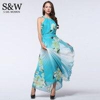 6XL 7XL Plus Size 2016 Summer Women Sexy Dresses Bohemian Floral Long Chiffon Dress Sundresses Blue Maxi Dress