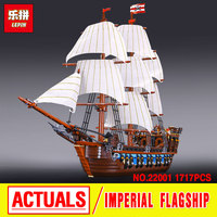 2016 New LEPIN 22001 1717Pcs Pirates The Imperial Flagship Huge Ship Model Building Kit Minifigure Blocks