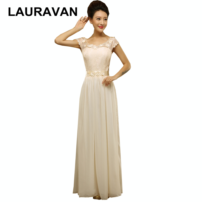 US $26.69 5% OFF|flower applique plus size champagne color womens plus  elegant party bridesmaid lace up dresses new arrival 2018 dress for  women-in ...