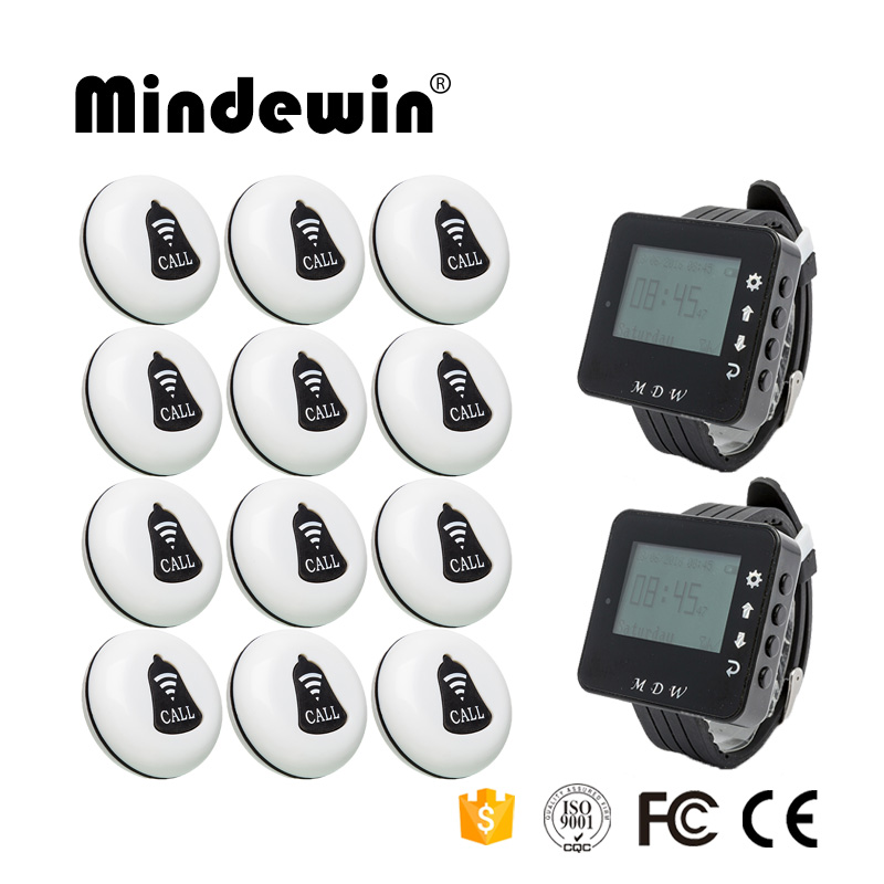 Mindewin Wireless Calling System Restaurant Waiter Service Calling System 12PCS Call Button M-K-1 and 2PCS Watch Pager M-W-1 wireless pager system 433 92mhz wireless restaurant table buzzer with monitor and watch receiver 3 display 42 call button