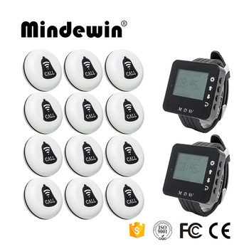 Mindewin Wireless Calling System Restaurant Waiter Service Calling System 12PCS Call Button M-K-1 and 2PCS Watch Pager M