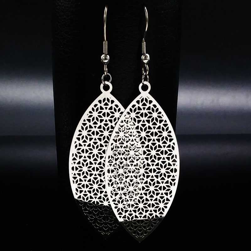 2018 Long Bohemian Stainless Steel Drop Earrings for Women Hollow Silver Big  Earrings for Women pendientes largos