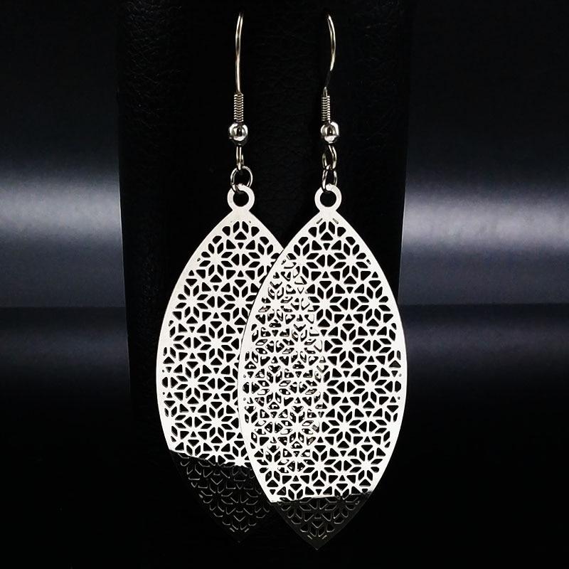 Long Bohemian Stainless Steel Drop Earrings for Women Hollow Silver Color Big Earrings Women pendientes largos