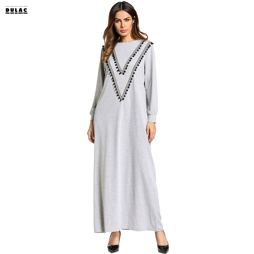 2018 Spring Ramadan Women Fashion O-Neck Long Sleeved Casual Loose  Middle East Muslim knitted Arab Robe Long Dress rights of sri lankan women migrant workers in middle east