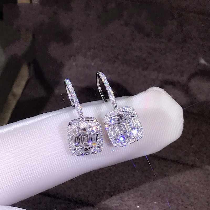 การจัดส่งสินค้าหรูหราเครื่องประดับน่ารัก 925 เงินสเตอร์ลิง T AAAAA Cubic Zirconia CZ Eternity ผู้หญิงงานแต่งงาน Dangle ต่างหู Hook
