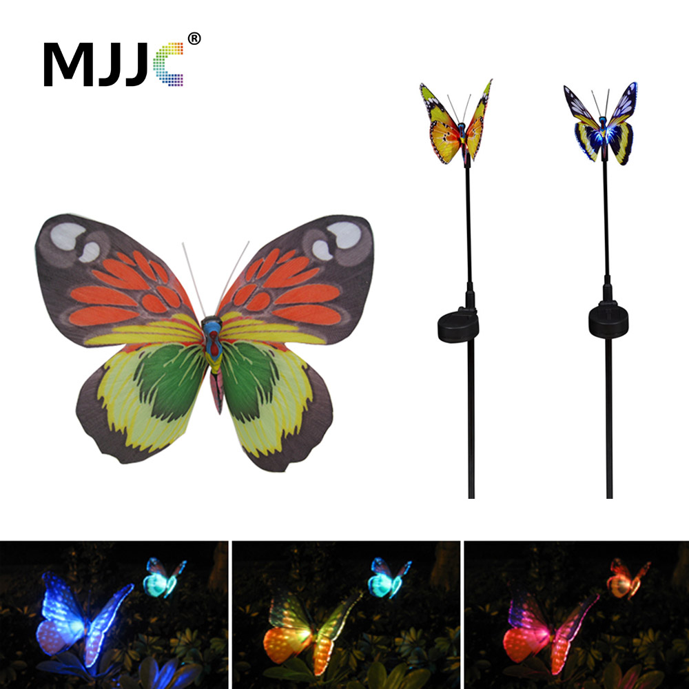 LED Solar Lamps Outdoor Fiber Butterfly Waterproof Christmas Outdoor Garden Solar Lights for Yard Lawn Landscape Decoration Lamp